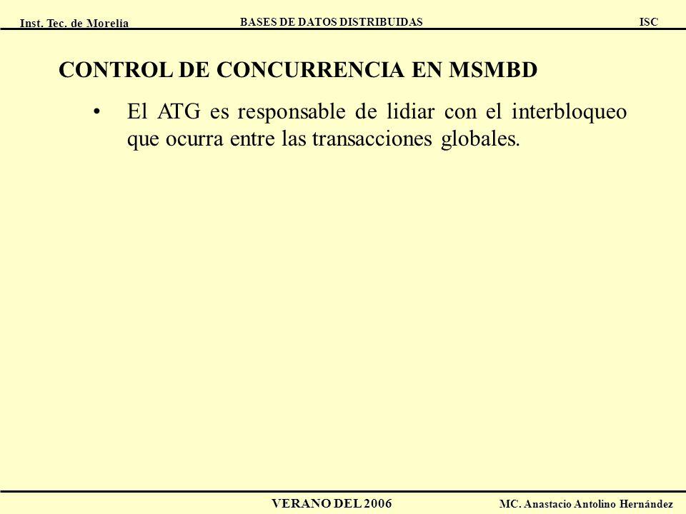 Inst. Tec. de Morelia ISC BASES DE DATOS DISTRIBUIDAS VERANO DEL 2006 MC. Anastacio Antolino Hernández CONTROL DE CONCURRENCIA EN MSMBD El ATG es resp