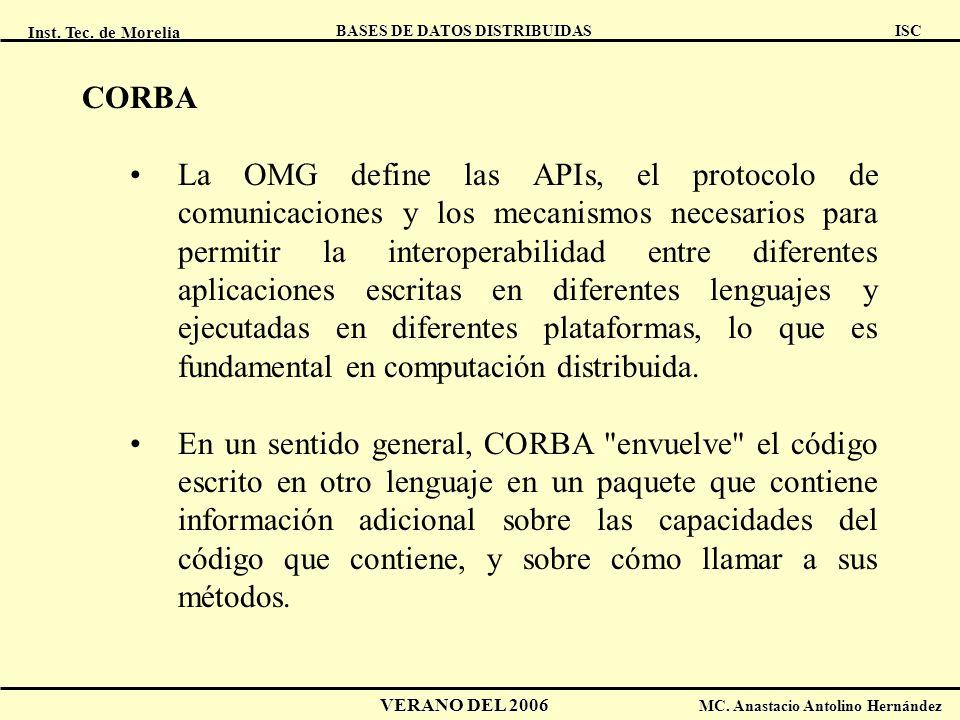 Inst. Tec. de Morelia ISC BASES DE DATOS DISTRIBUIDAS VERANO DEL 2006 MC. Anastacio Antolino Hernández CORBA La OMG define las APIs, el protocolo de c