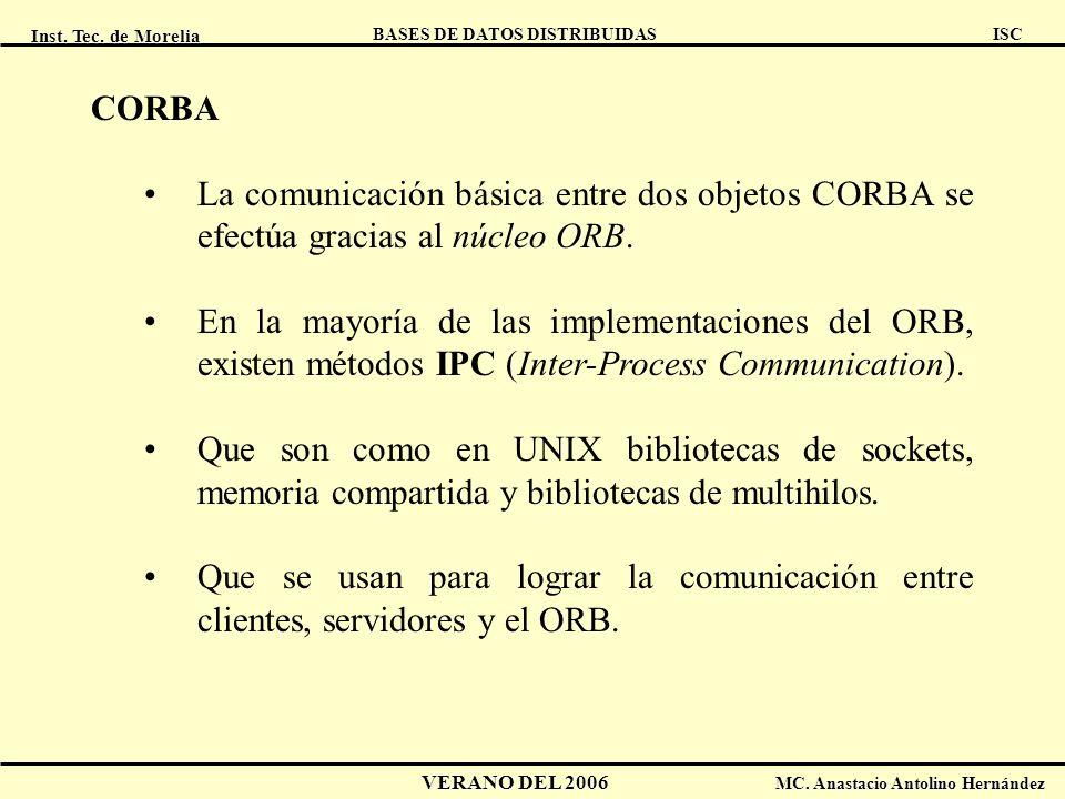Inst. Tec. de Morelia ISC BASES DE DATOS DISTRIBUIDAS VERANO DEL 2006 MC. Anastacio Antolino Hernández CORBA La comunicación básica entre dos objetos