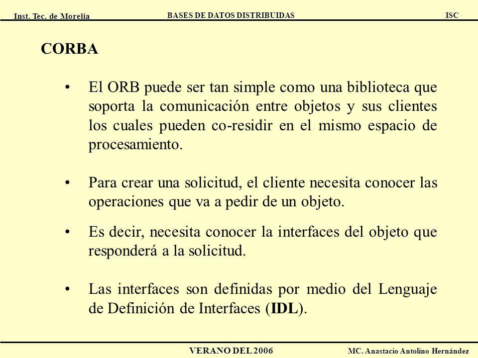 Inst. Tec. de Morelia ISC BASES DE DATOS DISTRIBUIDAS VERANO DEL 2006 MC. Anastacio Antolino Hernández CORBA El ORB puede ser tan simple como una bibl