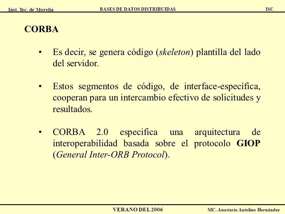Inst. Tec. de Morelia ISC BASES DE DATOS DISTRIBUIDAS VERANO DEL 2006 MC. Anastacio Antolino Hernández CORBA Es decir, se genera código (skeleton) pla