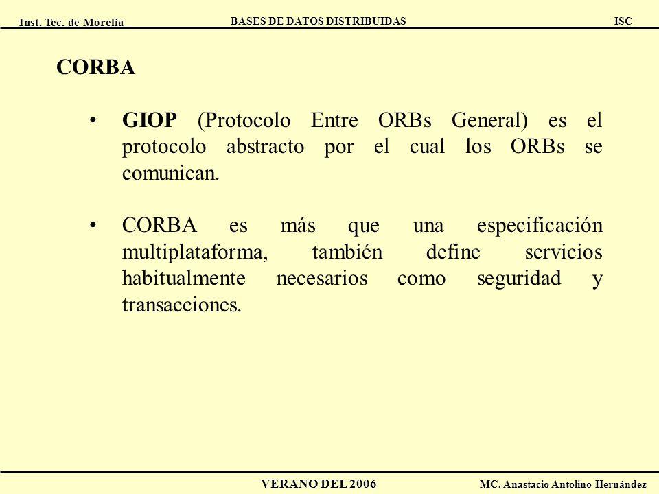 Inst. Tec. de Morelia ISC BASES DE DATOS DISTRIBUIDAS VERANO DEL 2006 MC. Anastacio Antolino Hernández CORBA GIOP (Protocolo Entre ORBs General) es el