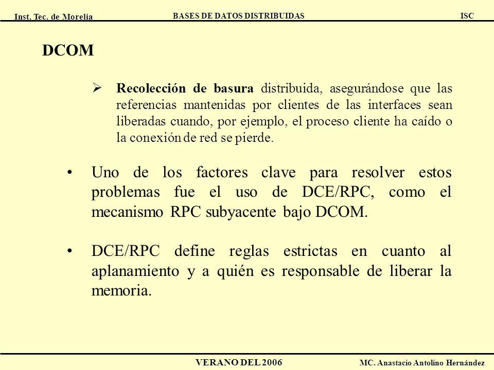 Inst. Tec. de Morelia ISC BASES DE DATOS DISTRIBUIDAS VERANO DEL 2006 MC. Anastacio Antolino Hernández DCOM Recolección de basura distribuida, asegurá