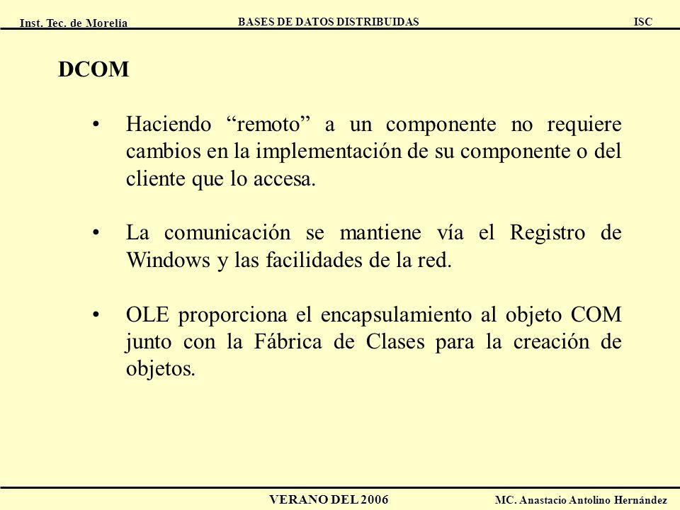 Inst. Tec. de Morelia ISC BASES DE DATOS DISTRIBUIDAS VERANO DEL 2006 MC. Anastacio Antolino Hernández DCOM Haciendo remoto a un componente no requier