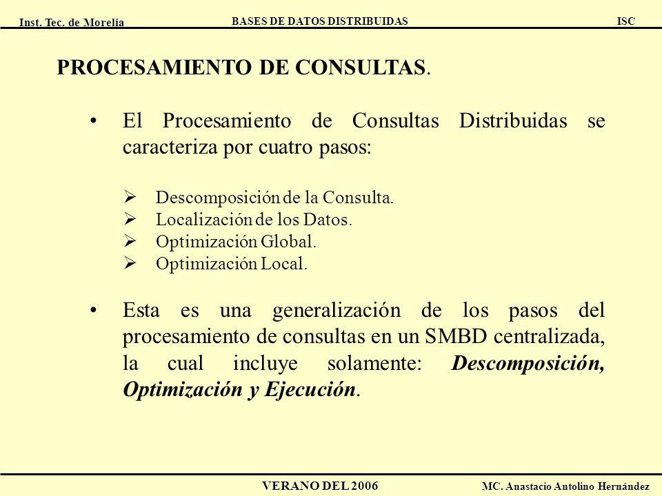 Inst. Tec. de Morelia ISC BASES DE DATOS DISTRIBUIDAS VERANO DEL 2006 MC. Anastacio Antolino Hernández PROCESAMIENTO DE CONSULTAS. El Procesamiento de