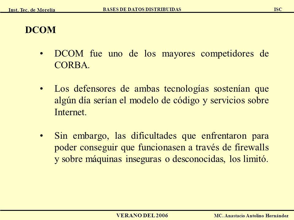 Inst. Tec. de Morelia ISC BASES DE DATOS DISTRIBUIDAS VERANO DEL 2006 MC. Anastacio Antolino Hernández DCOM DCOM fue uno de los mayores competidores d