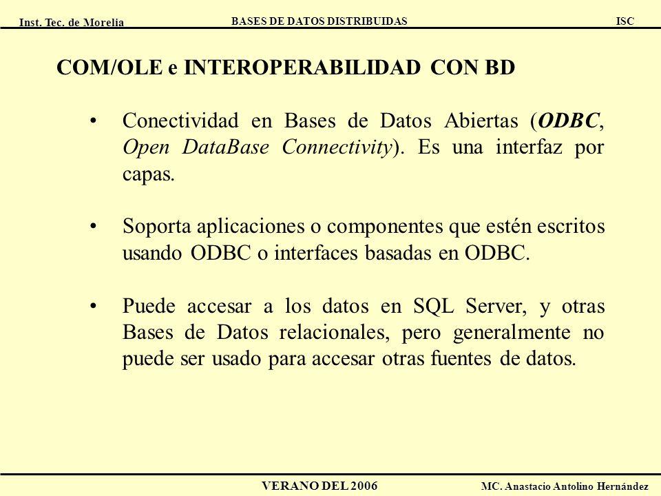 Inst. Tec. de Morelia ISC BASES DE DATOS DISTRIBUIDAS VERANO DEL 2006 MC. Anastacio Antolino Hernández COM/OLE e INTEROPERABILIDAD CON BD Conectividad