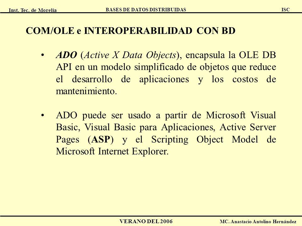 Inst. Tec. de Morelia ISC BASES DE DATOS DISTRIBUIDAS VERANO DEL 2006 MC. Anastacio Antolino Hernández COM/OLE e INTEROPERABILIDAD CON BD ADO (Active