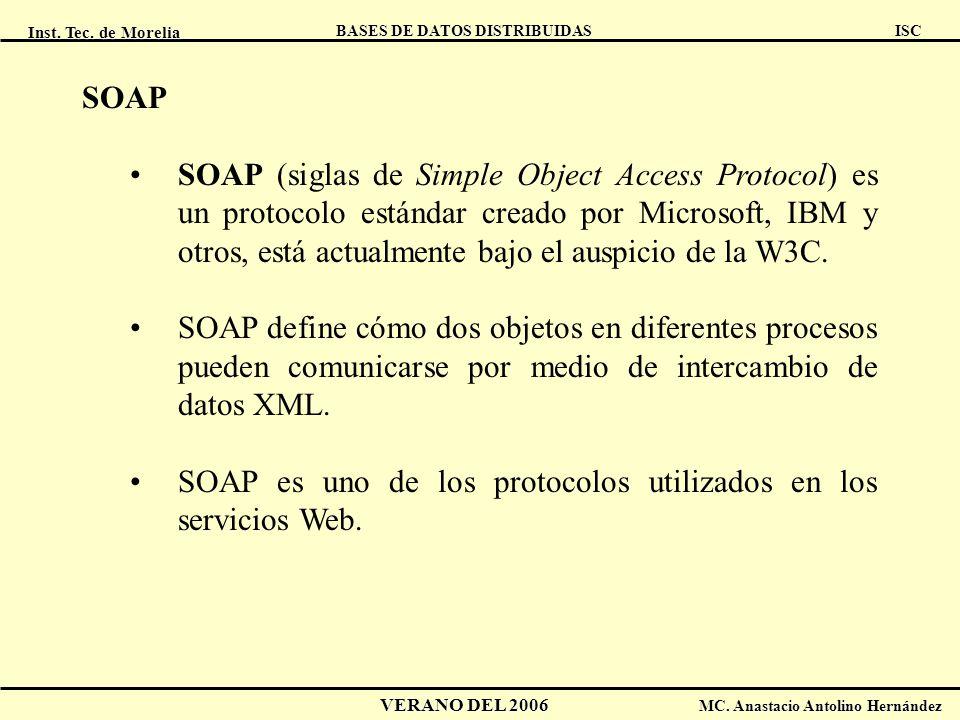 Inst. Tec. de Morelia ISC BASES DE DATOS DISTRIBUIDAS VERANO DEL 2006 MC. Anastacio Antolino Hernández SOAP SOAP (siglas de Simple Object Access Proto