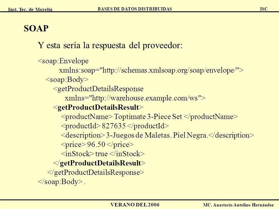 Inst. Tec. de Morelia ISC BASES DE DATOS DISTRIBUIDAS VERANO DEL 2006 MC. Anastacio Antolino Hernández SOAP Y esta sería la respuesta del proveedor: <
