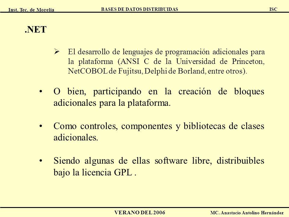 Inst. Tec. de Morelia ISC BASES DE DATOS DISTRIBUIDAS VERANO DEL 2006 MC. Anastacio Antolino Hernández.NET El desarrollo de lenguajes de programación