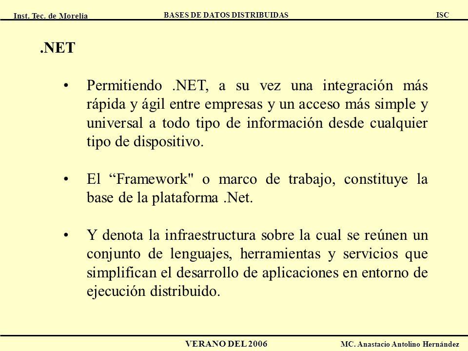 Inst. Tec. de Morelia ISC BASES DE DATOS DISTRIBUIDAS VERANO DEL 2006 MC. Anastacio Antolino Hernández.NET Permitiendo.NET, a su vez una integración m