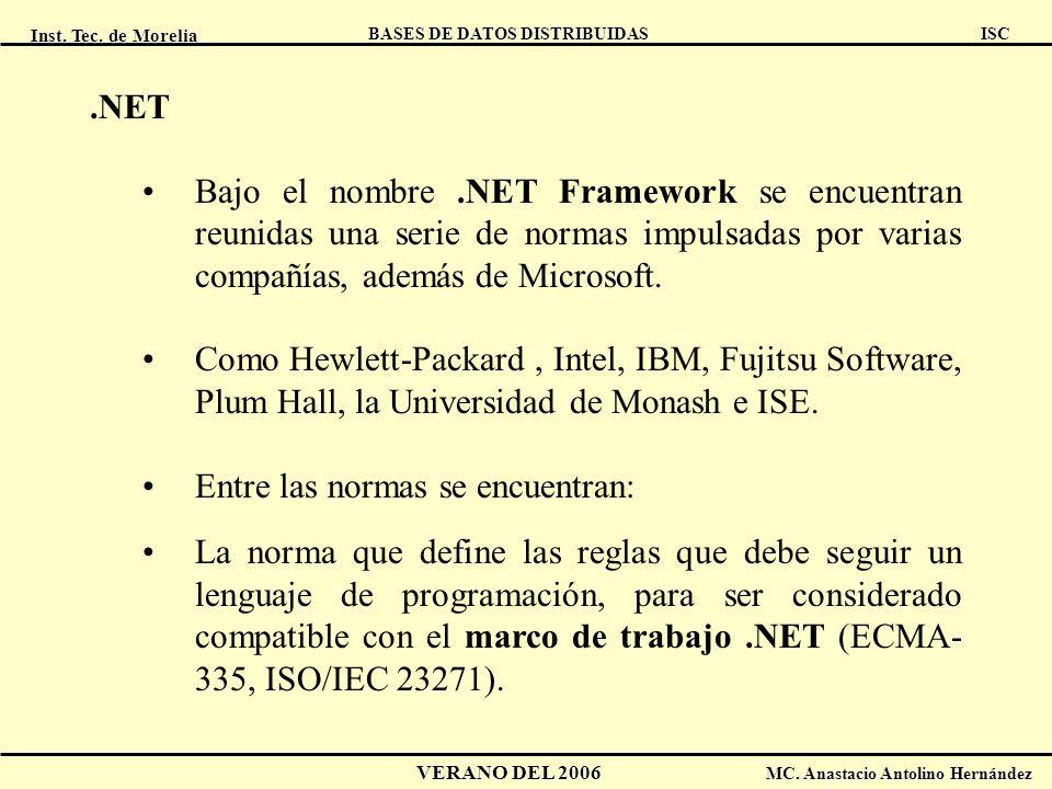 Inst. Tec. de Morelia ISC BASES DE DATOS DISTRIBUIDAS VERANO DEL 2006 MC. Anastacio Antolino Hernández.NET Bajo el nombre.NET Framework se encuentran