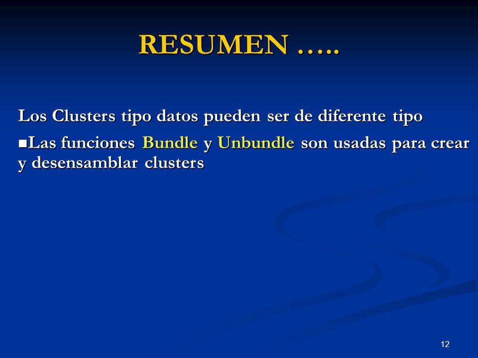 12 RESUMEN ….. Los Clusters tipo datos pueden ser de diferente tipo Las funciones Bundle y Unbundle son usadas para crear y desensamblar clusters Las