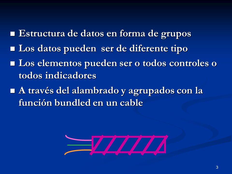 3 Estructura de datos en forma de grupos Estructura de datos en forma de grupos Los datos pueden ser de diferente tipo Los datos pueden ser de diferen