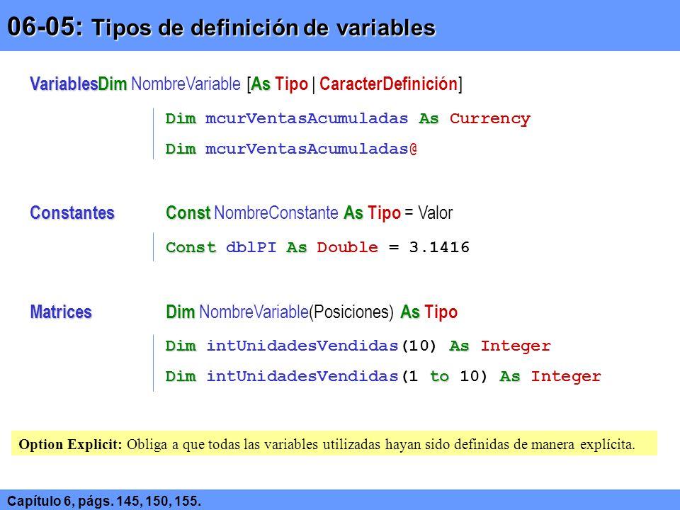 06-05: Tipos de definición de variables Capítulo 6, págs. 145, 150, 155. VariablesDimAs VariablesDim NombreVariable [ As Tipo | CaracterDefinición ] D