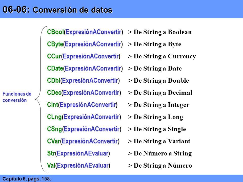 06-06: Conversión de datos Capítulo 6, págs. 158. Funciones de conversión CBoolExpresiónAConvertir CBool(ExpresiónAConvertir) > De String a Boolean CB