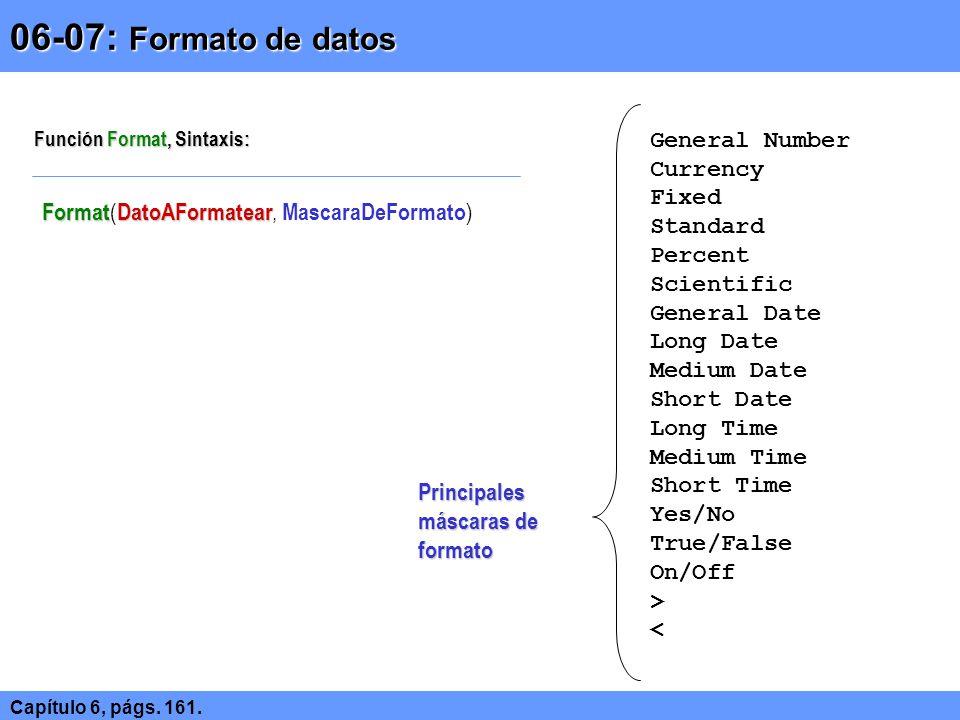 Laboratorio Laboratorio 06.01 MsgBox: Creando ventanas de información y confirmación de manera rápida 06.02 Utilizando constantes de Visual Basic 06.03 InputBox: Acceso rápido de datos 06.04 Determinando nombre, tipo de dato y alcance indicado para las variable 06.05 Uso de arreglos y determinación de límites mínimos y máximos del intervalo de subíndices 06.06 Declaración automática de variables en Visual Basic 06.07 Uso de Option Explicit (requerir la declaración de variables de manera explícita) 06.08 Establecer Option Explicit de manera automática para todos los formularios nuevos 06.09 Uso de funciones de conversión 06.10 Uso de la función Format 06.11 Uso de la función Fomat, en formatos definidos por el usuario Realice los siguientes ejercicios.