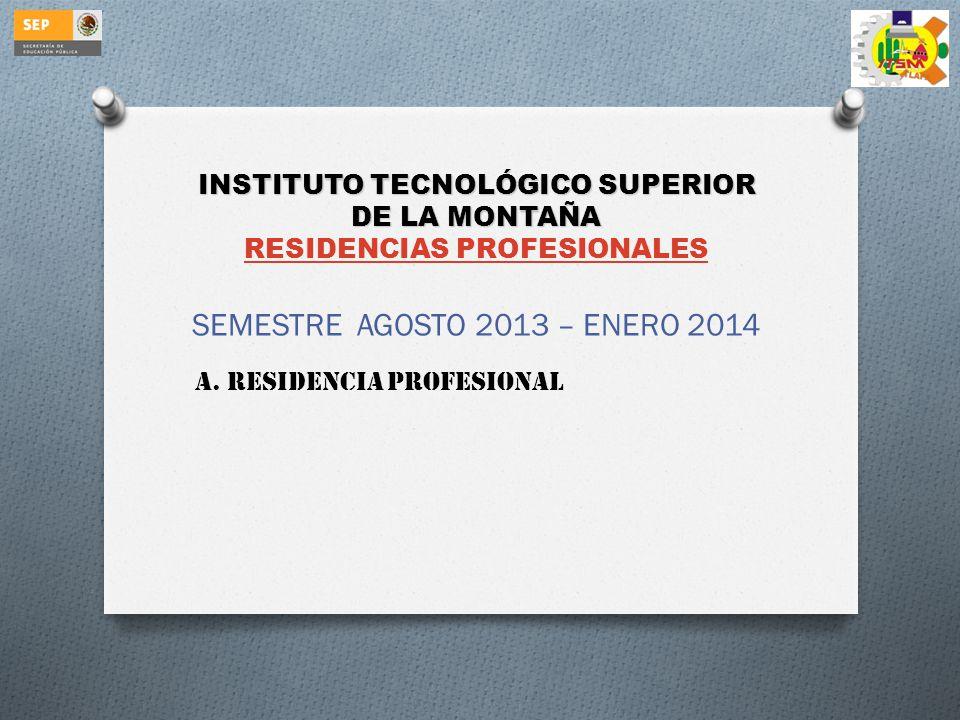 INSTITUTO TECNOLÓGICO SUPERIOR DE LA MONTAÑA INSTITUTO TECNOLÓGICO SUPERIOR DE LA MONTAÑA RESIDENCIAS PROFESIONALES RESIDENCIAS PROFESIONALES SEMESTRE AGOSTO 2013 – ENERO 2014 A.