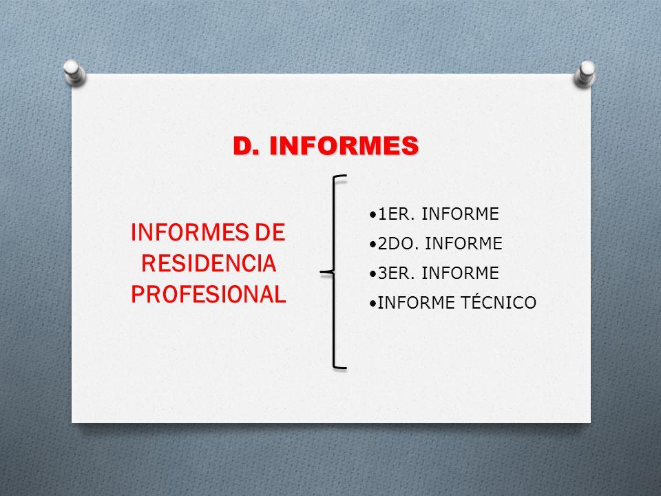 D. INFORMES INFORMES DE RESIDENCIA PROFESIONAL 1ER. INFORME 2DO. INFORME 3ER. INFORME INFORME TÉCNICO