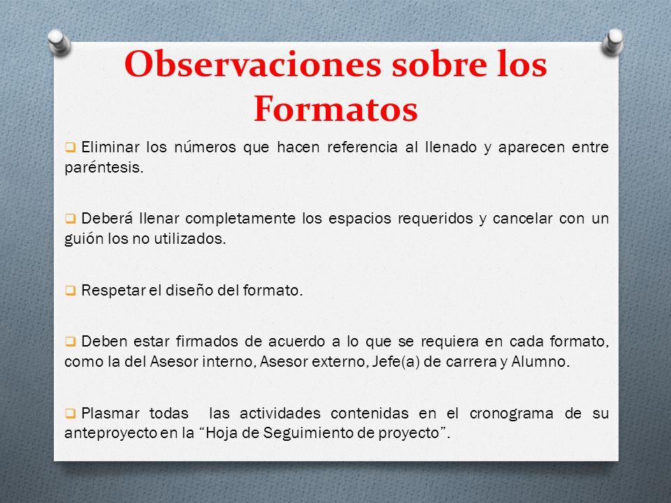 Observaciones sobre los Formatos Eliminar los números que hacen referencia al llenado y aparecen entre paréntesis.