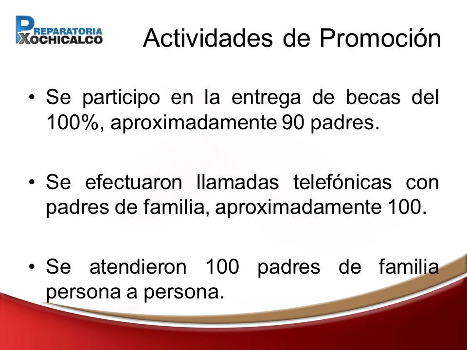 Actividades de Promoción Se participo en la entrega de becas del 100%, aproximadamente 90 padres.