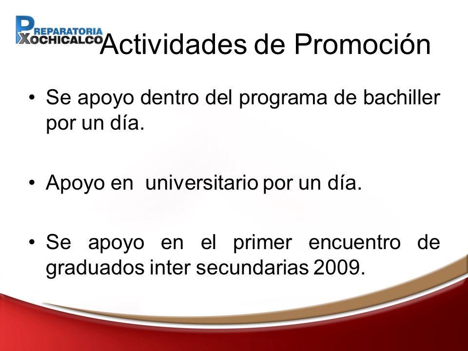 Actividades de Promoción Se apoyo dentro del programa de bachiller por un día.