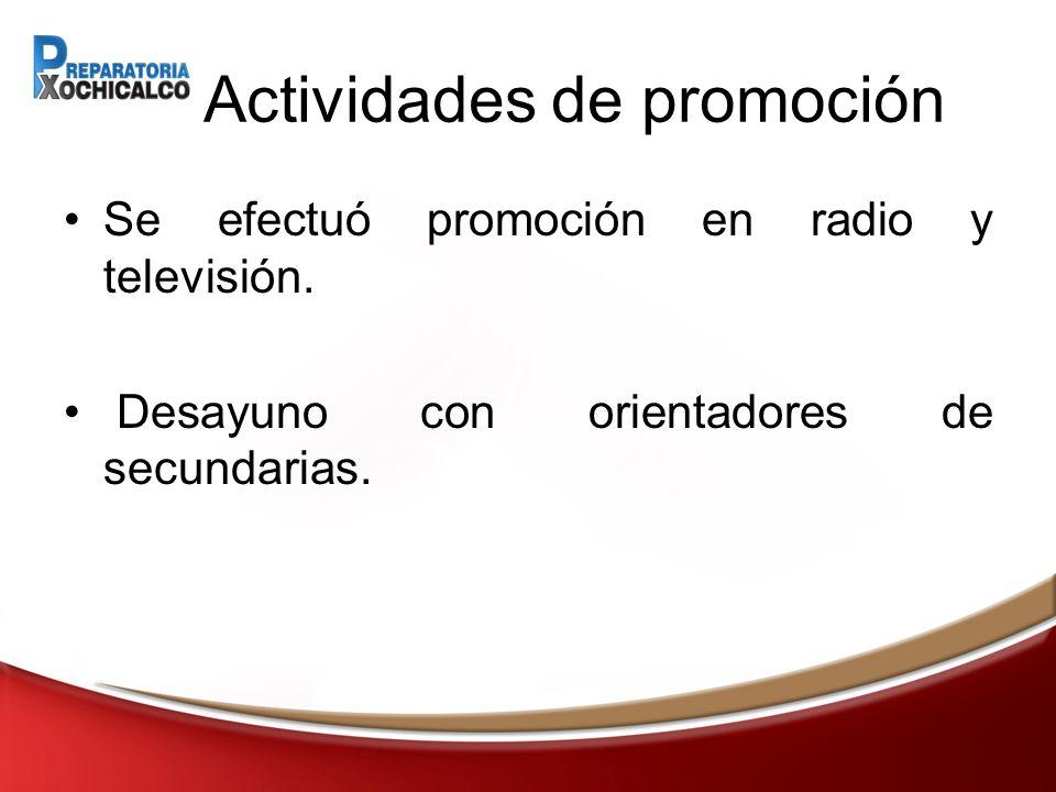 Actividades de promoción Se efectuó promoción en radio y televisión.