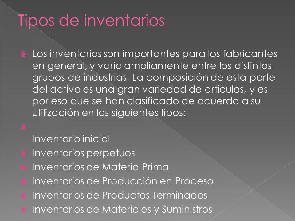 Los inventarios son importantes para los fabricantes en general, y varia ampliamente entre los distintos grupos de industrias.