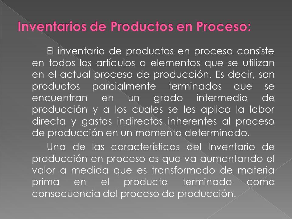 El inventario de productos en proceso consiste en todos los artículos o elementos que se utilizan en el actual proceso de producción.