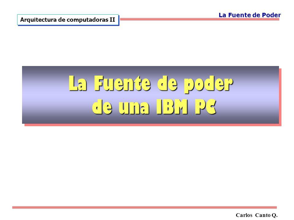 Carlos Canto Q. Arquitectura de computadoras II La Fuente de Poder La Fuente de poder de una IBM PC