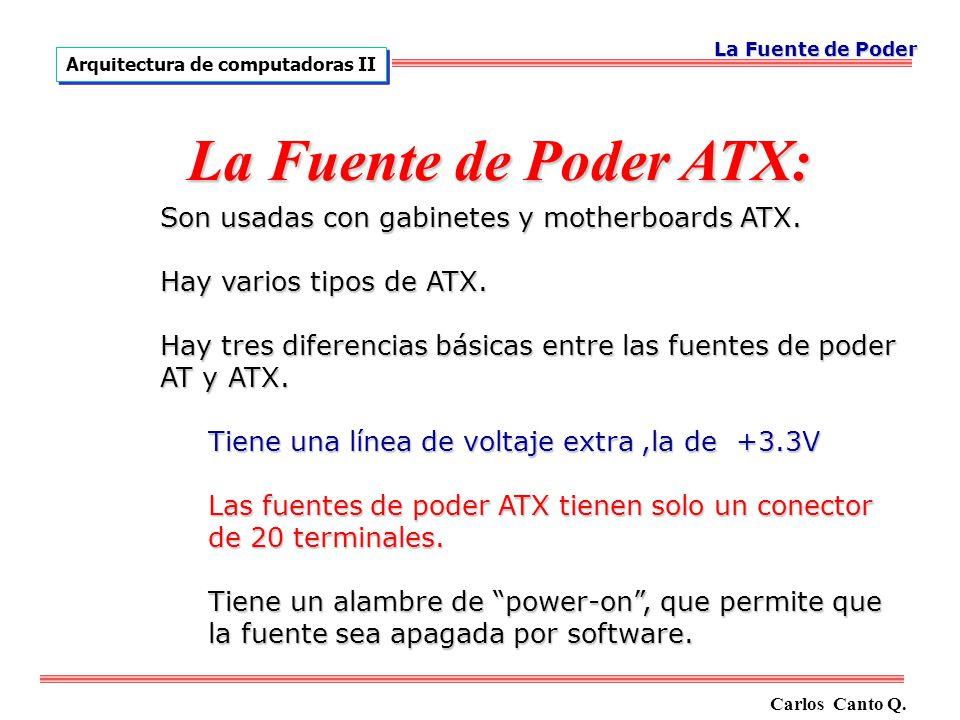 Son usadas con gabinetes y motherboards ATX.Hay varios tipos de ATX.