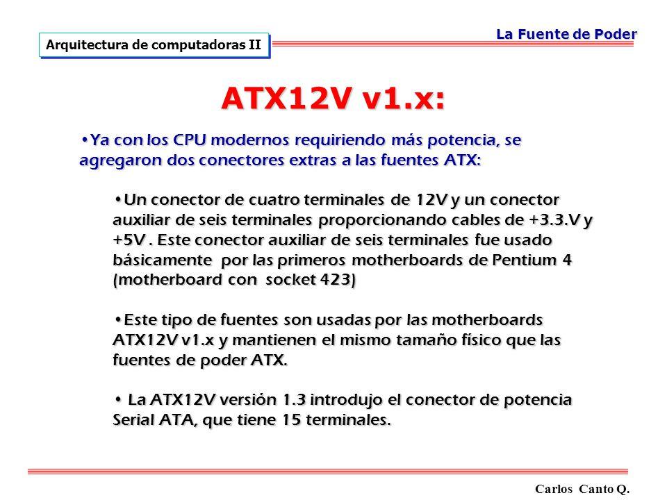 ATX12V v1.x: Ya con los CPU modernos requiriendo más potencia, se agregaron dos conectores extras a las fuentes ATX:Ya con los CPU modernos requiriendo más potencia, se agregaron dos conectores extras a las fuentes ATX: Un conector de cuatro terminales de 12V y un conector auxiliar de seis terminales proporcionando cables de +3.3.V y +5V.