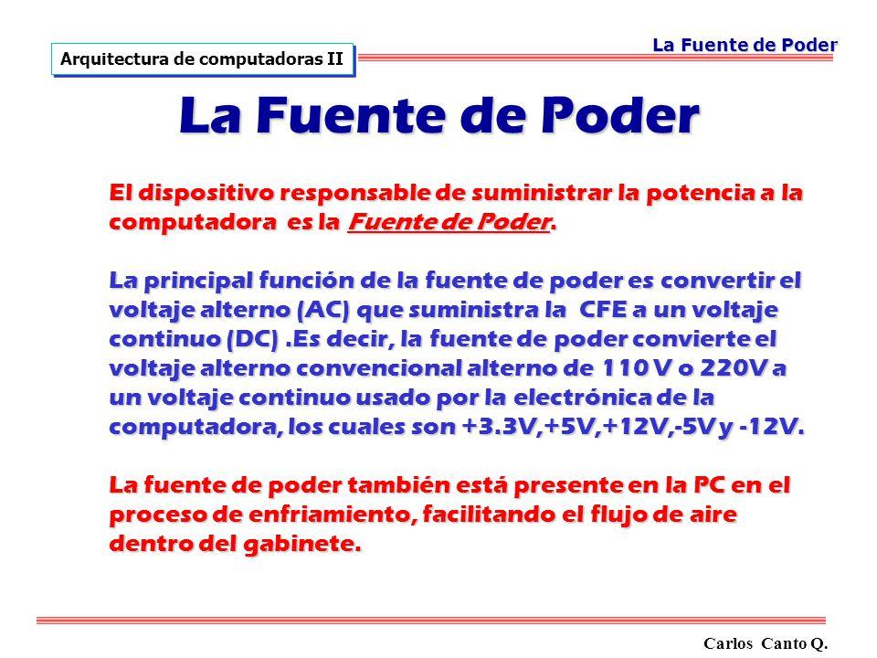 La Fuente de Poder El dispositivo responsable de suministrar la potencia a la computadora es la Fuente de Poder.