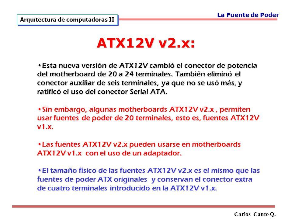 ATX12V v2.x: Esta nueva versión de ATX12V cambió el conector de potencia del motherboard de 20 a 24 terminales.