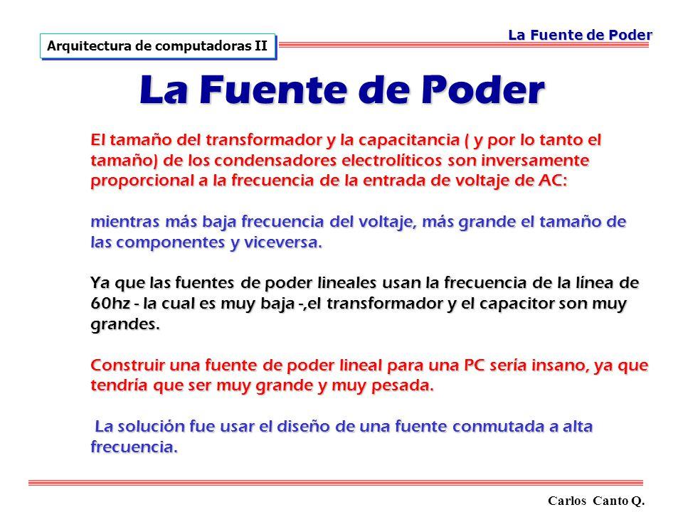 El tamaño del transformador y la capacitancia ( y por lo tanto el tamaño) de los condensadores electrolíticos son inversamente proporcional a la frecuencia de la entrada de voltaje de AC: mientras más baja frecuencia del voltaje, más grande el tamaño de las componentes y viceversa.