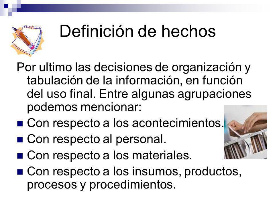 Definición de hechos Por ultimo las decisiones de organización y tabulación de la información, en función del uso final. Entre algunas agrupaciones po