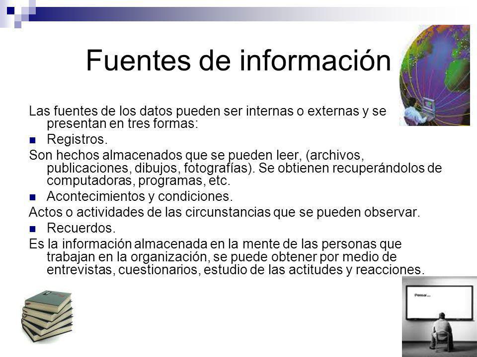 Fuentes de información Las fuentes de los datos pueden ser internas o externas y se presentan en tres formas: Registros. Son hechos almacenados que se