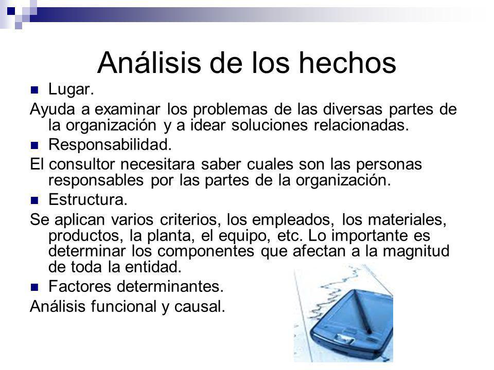 Análisis de los hechos Lugar. Ayuda a examinar los problemas de las diversas partes de la organización y a idear soluciones relacionadas. Responsabili