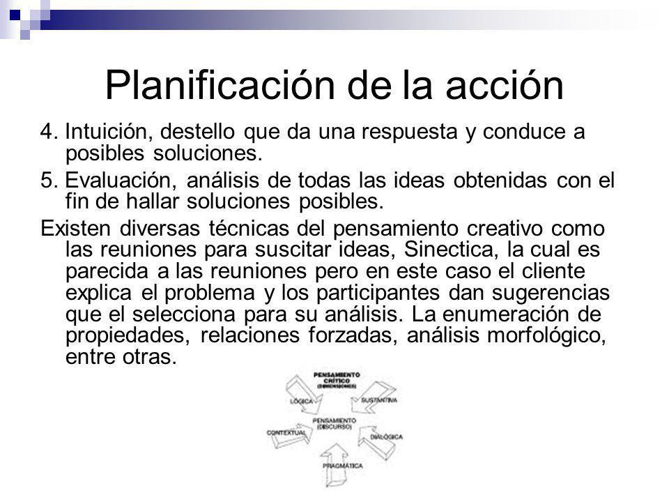 Planificación de la acción 4. Intuición, destello que da una respuesta y conduce a posibles soluciones. 5. Evaluación, análisis de todas las ideas obt