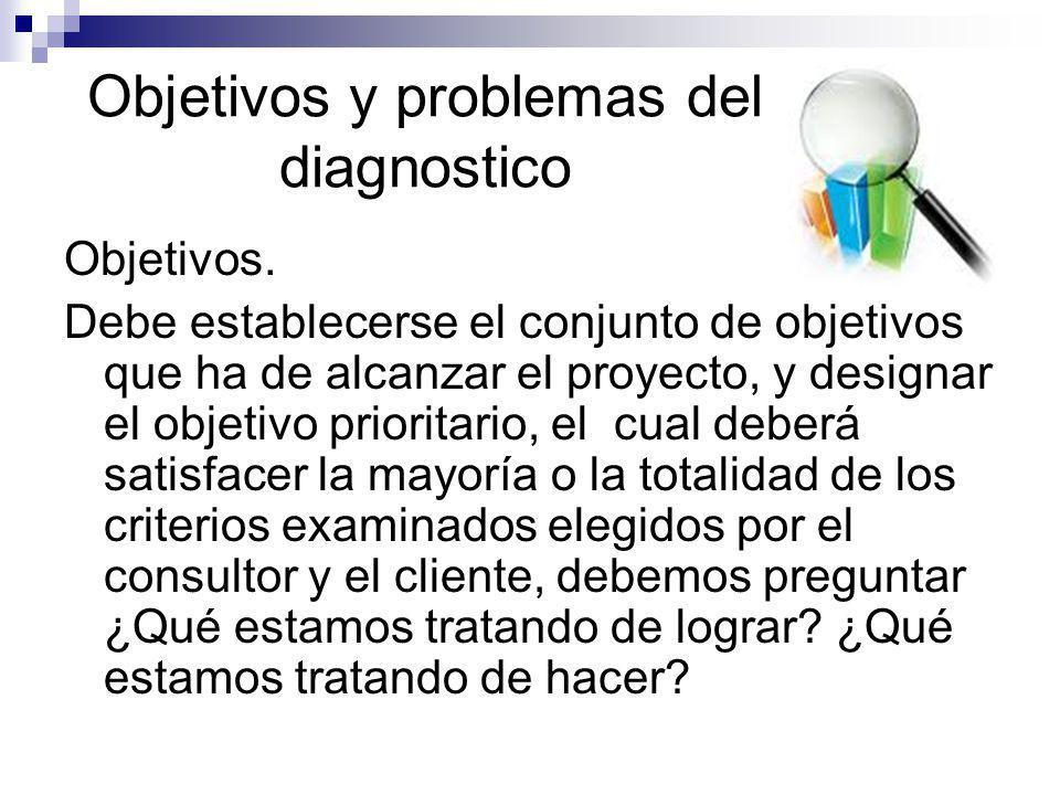 Objetivos y problemas del diagnostico Objetivos. Debe establecerse el conjunto de objetivos que ha de alcanzar el proyecto, y designar el objetivo pri
