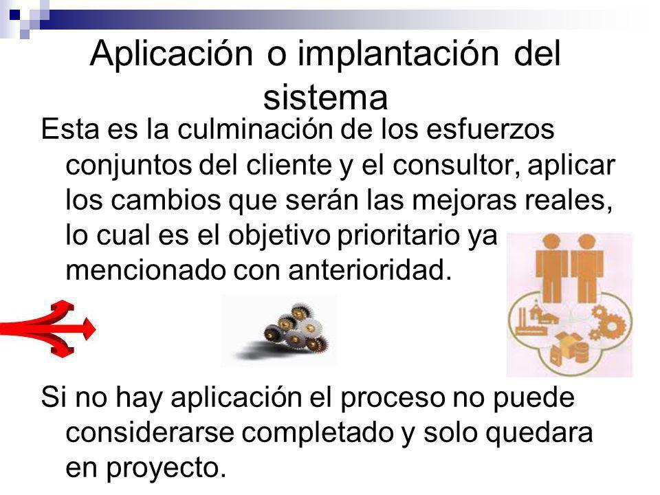 Aplicación o implantación del sistema Esta es la culminación de los esfuerzos conjuntos del cliente y el consultor, aplicar los cambios que serán las