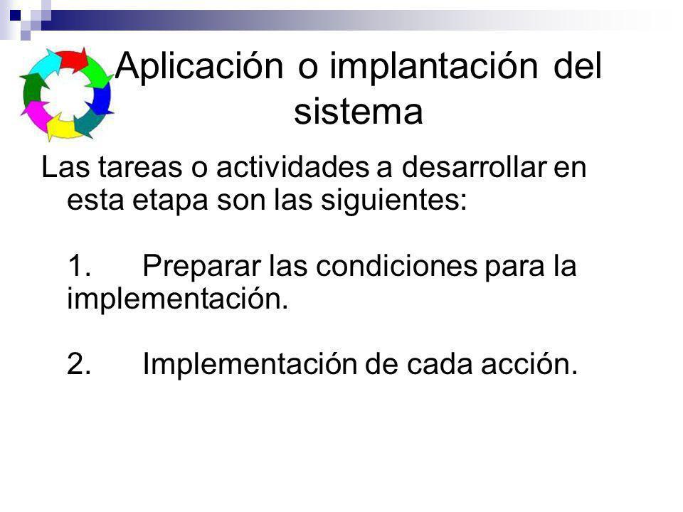 Aplicación o implantación del sistema Las tareas o actividades a desarrollar en esta etapa son las siguientes: 1. Preparar las condiciones para la imp