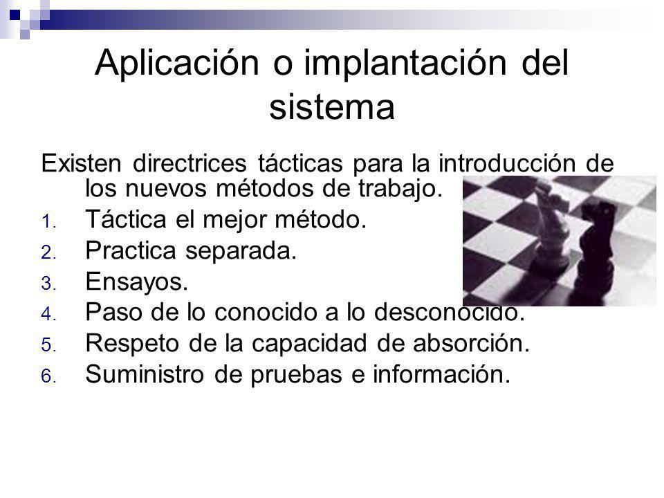Aplicación o implantación del sistema Existen directrices tácticas para la introducción de los nuevos métodos de trabajo. 1. Táctica el mejor método.