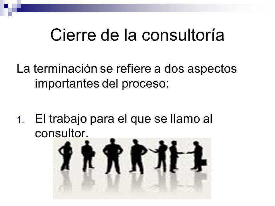 Cierre de la consultoría La terminación se refiere a dos aspectos importantes del proceso: 1. El trabajo para el que se llamo al consultor.