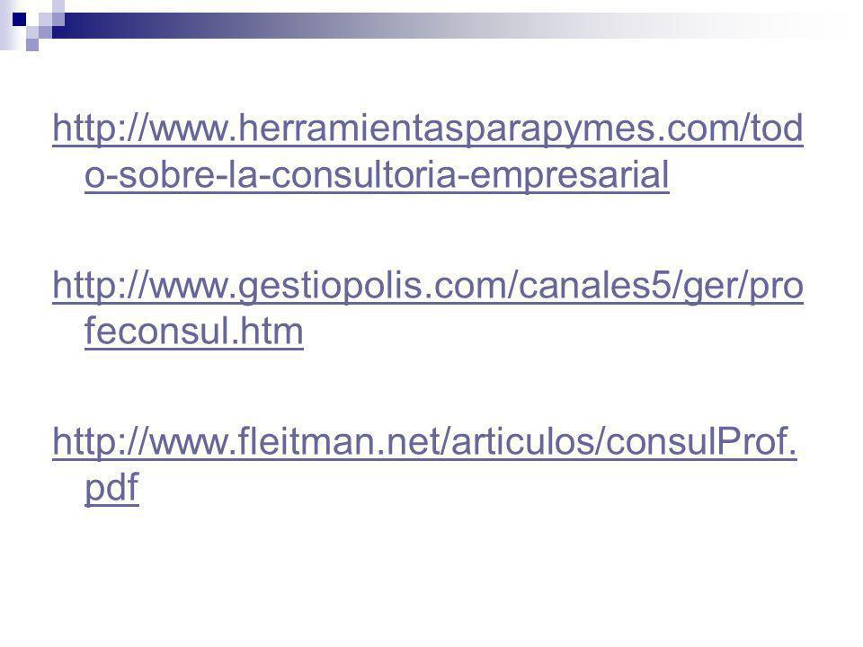 http://www.herramientasparapymes.com/tod o-sobre-la-consultoria-empresarial http://www.gestiopolis.com/canales5/ger/pro feconsul.htm http://www.fleitm