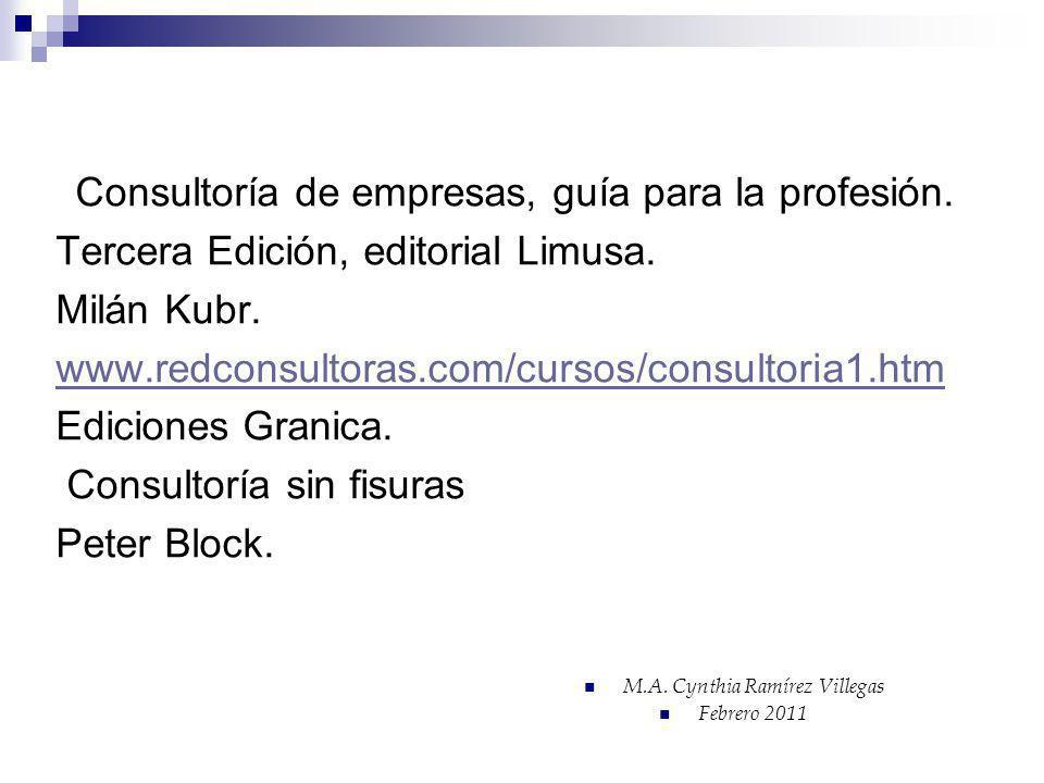 Consultoría de empresas, guía para la profesión. Tercera Edición, editorial Limusa. Milán Kubr. www.redconsultoras.com/cursos/consultoria1.htm Edicion