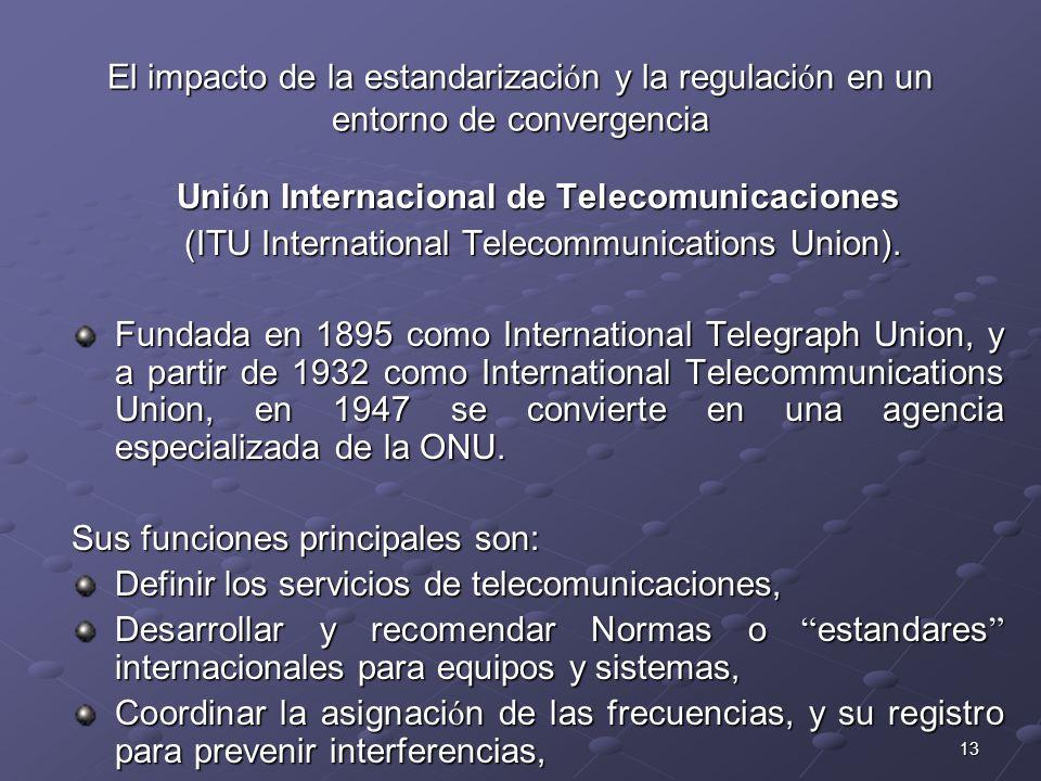 13 El impacto de la estandarizaci ó n y la regulaci ó n en un entorno de convergencia Uni ó n Internacional de Telecomunicaciones (ITU International T