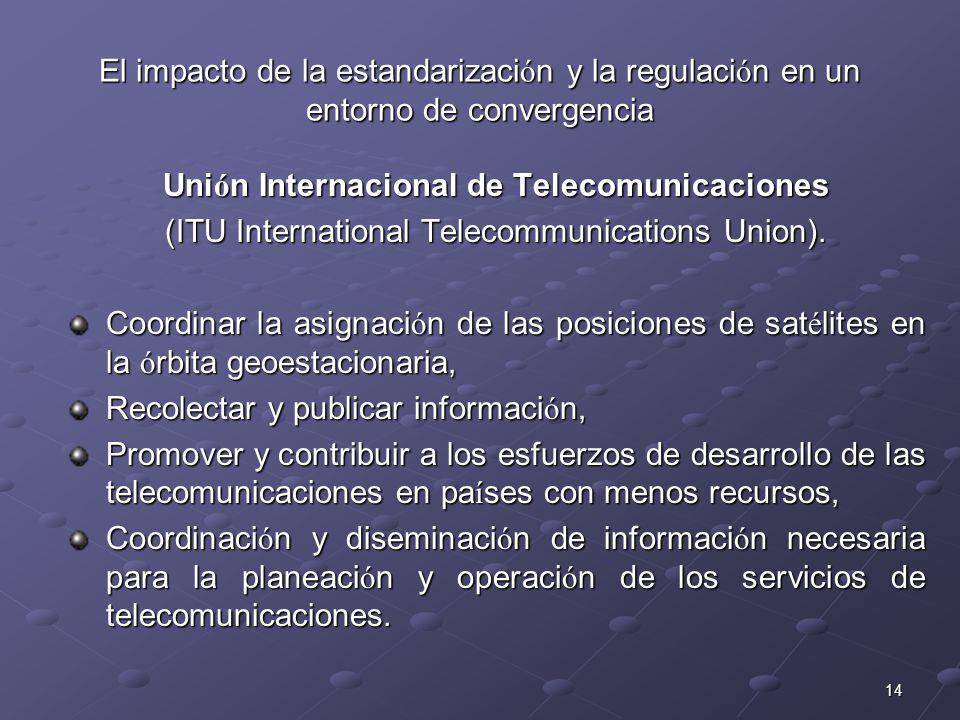 14 El impacto de la estandarizaci ó n y la regulaci ó n en un entorno de convergencia Uni ó n Internacional de Telecomunicaciones (ITU International T
