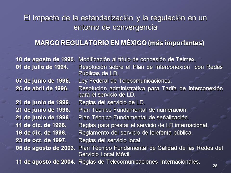 28 El impacto de la estandarizaci ó n y la regulaci ó n en un entorno de convergencia MARCO REGULATORIO EN MÉXICO (más importantes) 10 de agosto de 19